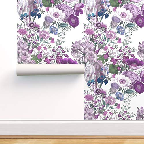 Spoonflower Peel and Stick Removable Wallpaper, Lilac Wildflowers Purple Lavender Floral Flowers Botanical Spring Summer Print, Self-Adhesive Wallpaper 24in x 108in Roll
