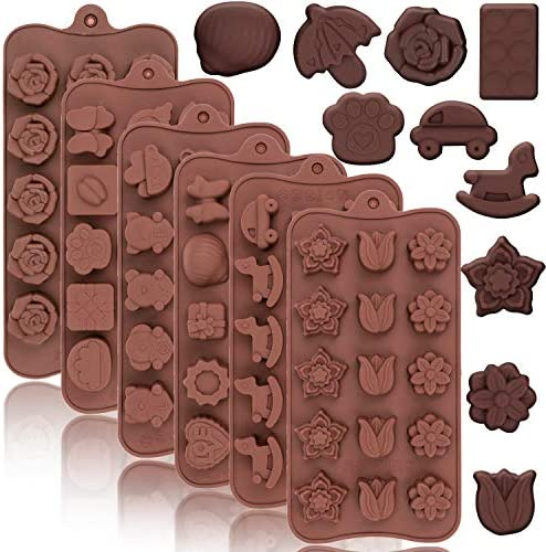Konsait 6Pack Silicone Chocolate Candy Gummy Molds Flower Santa Claus Bell Bear Car Fruit Animal product image