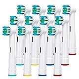 Cabezales de Recambio Compatible con Braun Oral b Cepillo Eléctrico Cabezales de repuesto para cepillos de dientes eléctricos, 12 Cabezales & 4 protectores