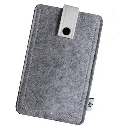 Dealbude24 Filz-Tasche passend für Motorola Moto X Force mit Hülle, Hochwertige Handy-hülle, Schutz-Tasche mit Herausziehband & Drucknopf, Etui stoßfest, weich & reißfest in Hell Grau - XL
