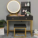 usikey Vanity Set with Lighted Mirror, Makeup Table with 2 Big Drawers, Dressing Vanity Tables with 2 Storage Shelves and Cushioned Stool for Wife, Girlfriend, Black