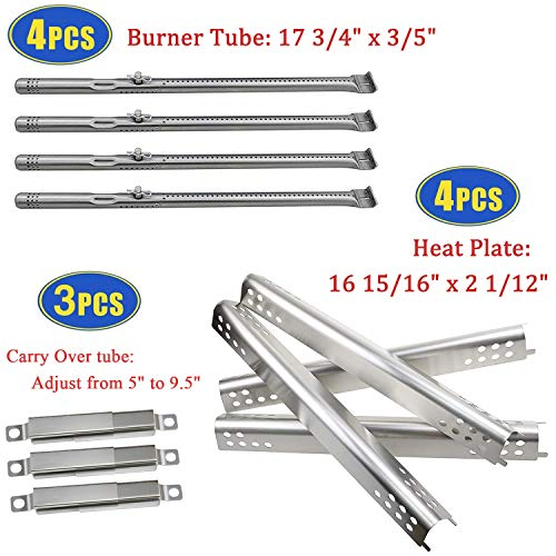 Grill Replacement Parts for Charbroil 463347017, 463377017, 463275517, 463673517 Gas Grills, Grill Burner Tubes & Heat Plates and Adjustable Crossover Tubes Kit for Char-Broil Performance Grills Burners Grill