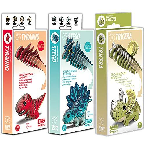 EUGY 3D Model Craft Kits Tyranno, Stego & Tricera, 3 Pack