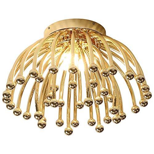 XXYHYQHJD Hierro Forjado de Techo del LED Medusas de la Sala de Estar de la lámpara nórdica Sala de Estudio Dormitorio de la lámpara de Techo Colgante de luz (Color : Oro)