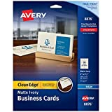 Avery Printable Business Cards, Inkjet Printers, 200 Cards, 2 x 3.5, Clean Edge, Heavyweig...