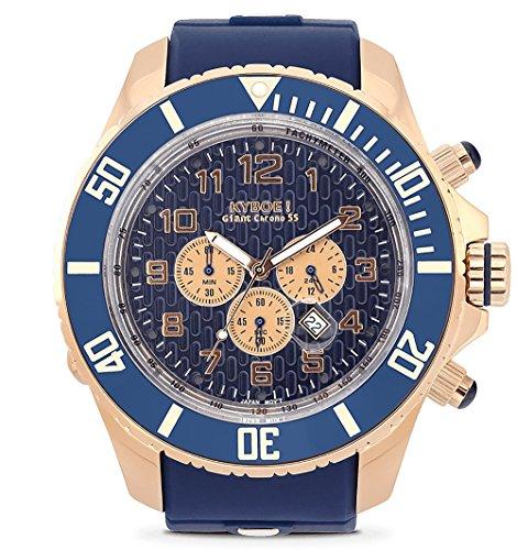 KYBOE! Reloj de cuarzo de acero inoxidable y silicona (modelo: Chronos rosa azul)