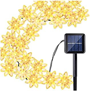 Warm White Solar Flower String Lights Lotus lishts,23ft 50 LED Blossom Flower String Light Solar Power for Outdoor Garden,...