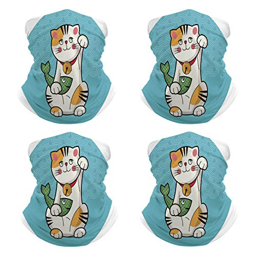 Bandanas Traditional Japanese Lucky Cat with Mouth Mask for Traveling NN-13491