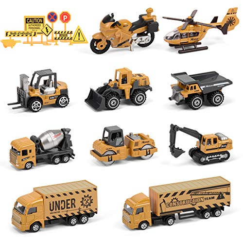 Small Construction Vehicle Toys 10 Diecast Construction Vehicles For Kids With 8 Road Sign Excavator Digger Bulldozer Dump Helicopter Motorcycle Toy Construction Trucks For Boys Toddlers Gifts
