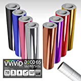 VViViD Chrome Multi-Color Gloss DECO65 Permanent Adhesive Craft Vinyl 1ft x 5ft Roll Bundle for Cricut, Silhouette & Cameo Including 12' x 24' Roll of Clear Transfer Paper (8 Color Pack)