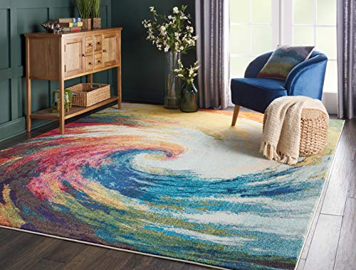 """Nourison Celestial Modern Bohemian Wave Multicolored Area Rug 5 Feet 3 Inches by 7 feet 3 Inches, 5'3"""" x 7'3"""""""