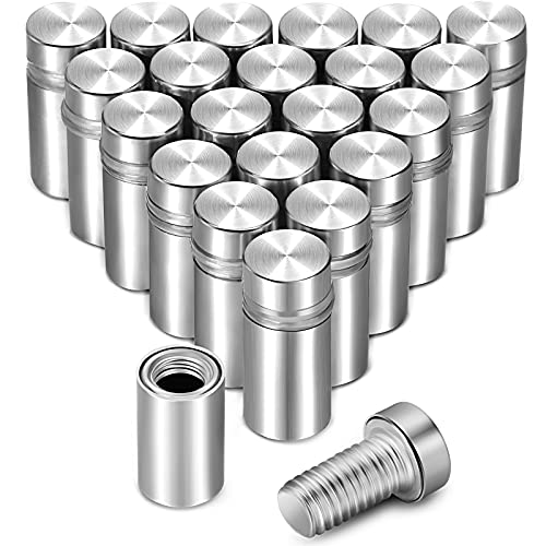 24 Pieces 1/2 x 1 Inch Stainless Steel Standoff Screws, Wall Sign Standoff Mounting Hardware Advertising Glass Standoff Nail for Hanging Acrylic Picture Frame, Silver