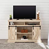 Walker Edison Furniture Company Modern Farmhouse Sliding Barndoor Wood Tall Universal Stand for TV's up to 58' Flat Screen Living Room Storage Cabinet Entertainment Center, 33 Inches, White Oak