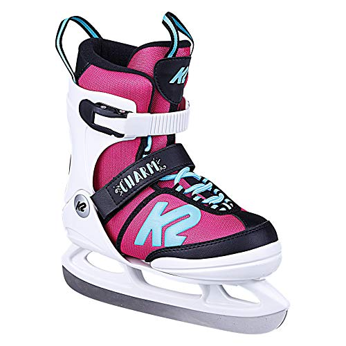 K2 Charm Ice - Patines de Hielo para niña, Niñas, Patines de Hielo., 25D0701, Color Blanco y Rosa., EU: 32 - 37 (UK: 13 - 4 / US: 1 - 5)