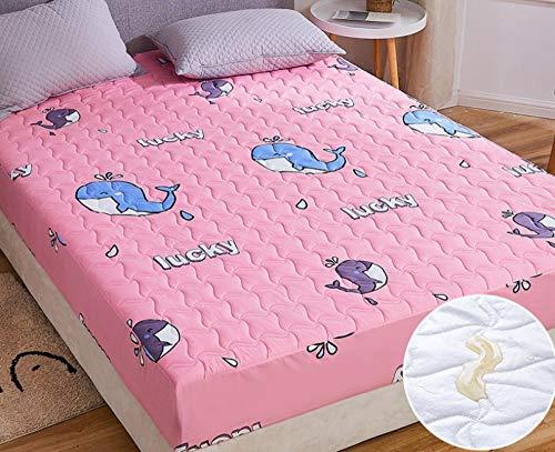 XLMHZP Protector de colchón Impermeable y Transpirable,Sábana Impermeable, Protector de colchón Transpirable y Lavable, sábana de Ajuste Fijo Antideslizante Acolchado Grueso-Q_150x200cm + 30cm