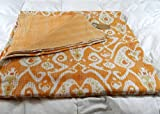 Kiara Indische Kantha Quilts Baumwoll-Tagesdecken und Decken, wendbar, Paisley-Muster, Stichwürfel, Doppelgröße/Queen Size (Buzz Yellow, Twin)