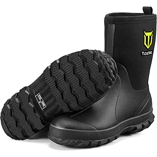 TIDEWE Rubber Boots for Men, 5.5mm Neoprene Insulated Rain Boots with Steel Shank, Waterproof Mid Calf Hunting Boots, Durable Rubber Work Boots for Farming Gardening Fishing (Black Size 10)