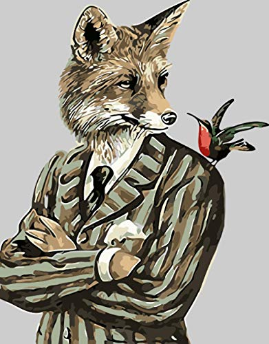 WLHZNBH schilderen op nummer, vos in pak en kat, speelkaarten DIY schilderij acryl canvas schilderen, op nummer, muurkunst, schildering, 40 x 50 cm (A) Met frame.