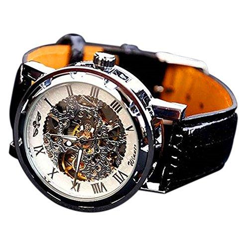 Armbanduhr Männer–dxlta Mode Skelett Mechanisch, Gehäuse aus Edelstahl Klassische Sport Uhr silberfarben