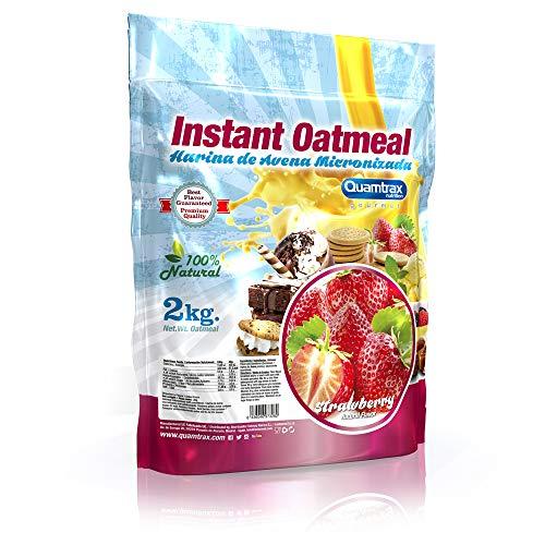 Quamtrax Gourmet Avena Instantánea en polvo, Sabor Fresa -
