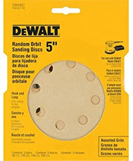 DEWALT DW4307 5-Inch 8 Hole Assortment Hook and Loop Random Orbit Sandpaper (5-Pack)