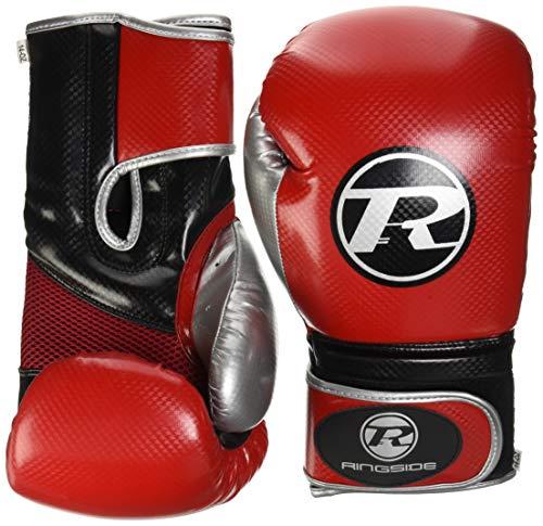 Ringside Boxing Pro Fitness handschoen synthetisch lederen handschoen metallic rood/zwart/zilver