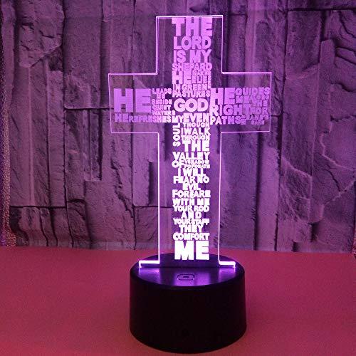 Cruz 3D Luz nocturna 3D Cristo Cruz Lámpara 3D Ilusión Óptica LED lámpara 7 colores cambiantes lámpara de mesita de noche regalos de cumpleaños para cristianos y decoración de habitación
