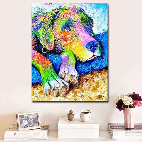 Colorido perro lienzo pintura de animales habitación de los niños decoración del hogar imágenes artísticas de pared lienzo póster impresiones ilustraciones 40x60 CM (sin marco)