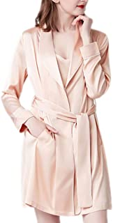 Summer Nightgown, Solid Color ice Silk Gown, Women's Polyester Nightgown, mid-Length tie, Lapel Nightgown, Casual Home wear, Soft and Comfortable (Color : Flesh Pink, Size : S)