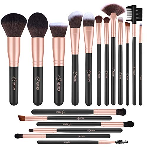 BESTOPE 18 Pcs Makeup Brushes Premium Synthetic Fan Foundation Powder Kabuki Brushes Concealers Eye Shadows Make Up Brushes Kit Rose Gold