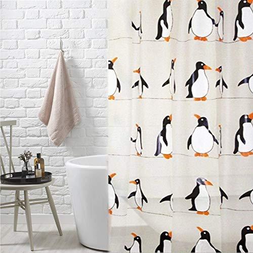 Duschvorhang, schimmelresistent, waschbar, Stoff oder Kunststoff, wasserabweisend, mit 12 Kunststoff-Haken (Pinguine – 180 x 180 cm – Kunststoff)