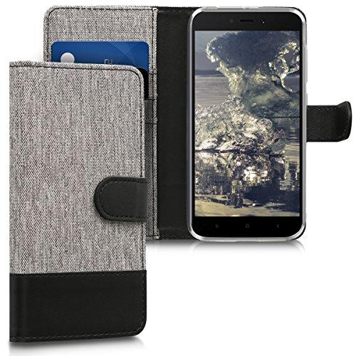 kwmobile Funda Compatible con Xiaomi Redmi 5A - Carcasa de Tela y Cuero sintético Tarjetero Gris/Negro