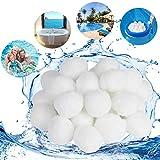 KATELUO 300G / 500G Filtro Balls,Sfere per Filtrazione a Sabbia per Piscine, può Essere riutilizzato,per sistemi di filtri a Cartuccia, Elevata permeabilità all'Acqua,più efficiente (500g, Bianco)
