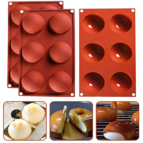 Rimi Hanger Silicone Sphere Chocolate Molds with 6 Holes Cocoa Bomb Baking Mold for Cake Dessert Soap and Pastry – Food-Grade Heat-Resistant Silicone Material – Flexible and Easy to Use (Brown)