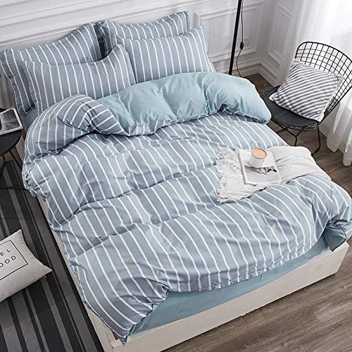 BH-JJSMGS 4-teilige gestreifte Karierte Bettwäsche aus Aloe-Baumwolle, Bettbezug und Kissenbezug, Blaue und weiße Streifen 220 * 240 cm