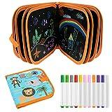 E-More Tabla de Dibujo Portátil para Niños, Doodle Juguetes de Dibujo para Niños con 12 Plumas de Colores 14 páginas, Reutilizable Lavable Libros Blandos de Pizarra para Escribir y Dibujar