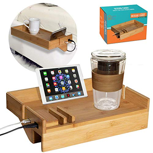Bamboo Bedside Bed Shelf- with USB Ports to Charge Devices, Powder Coated, Attachable Removable Bedside Tray, Table Kids Floating Nightstand Organizer for Bedrooms, Side Bunk, Small Spaces, and Loft,