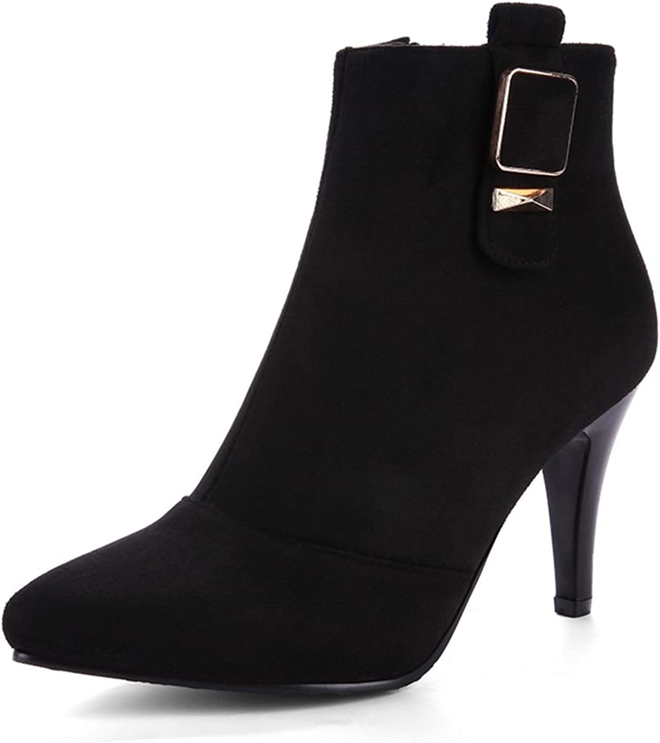 SaraIris Buckle Zipper Stiletto Heels Pointed Toe Solid Ankle Boots for Women