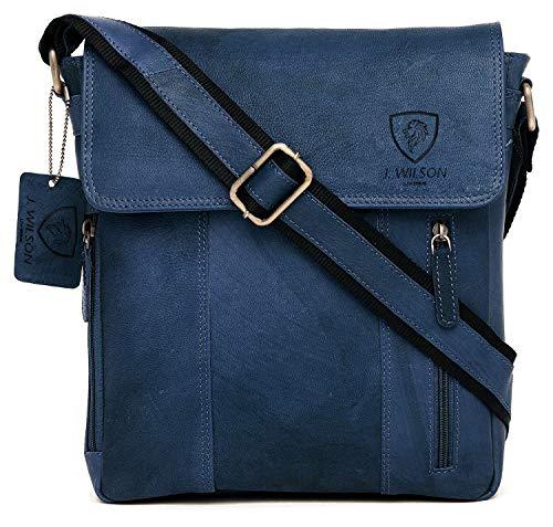 100% Pure Genuine Real Vintage Hunter Leather Handmade Mens Women Leather Flapover Everyday Crossover Shoulder Work iPad Messenger Bag (Distressed Dark Blue)