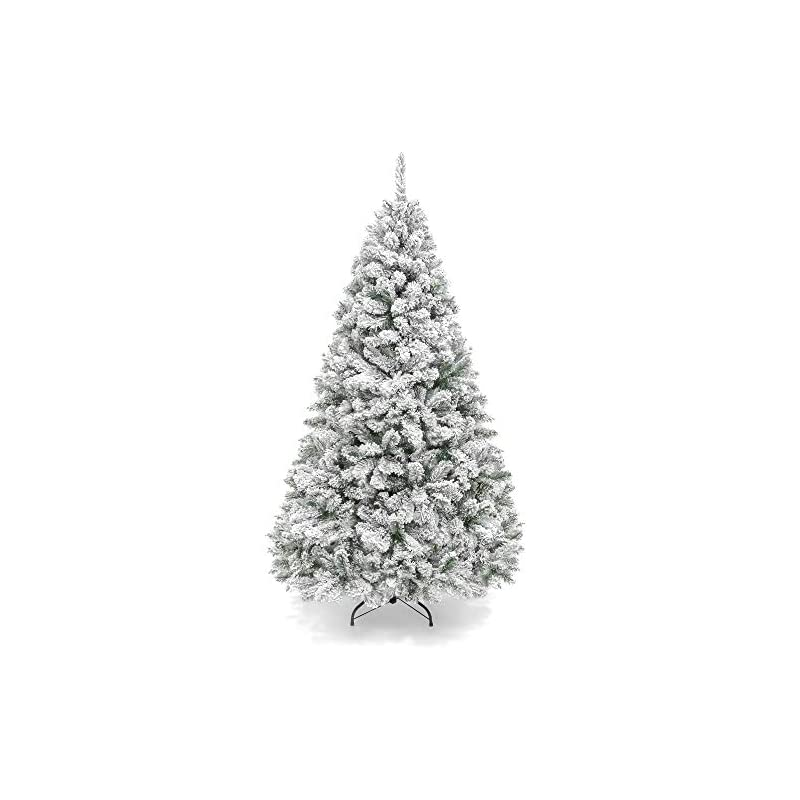 silk flower arrangements best choice products 6ft premium snow flocked artificial holiday christmas pine tree for home, office, party decoration w/ 928 branch tips, metal hinges & foldable base