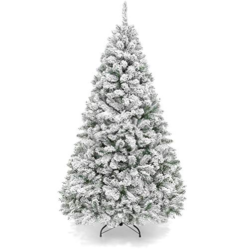 Best Choice Products 6ft Premium Snow Flocked Artificial Holiday Christmas Pine Tree for Home, Office, Party Decoration w/ 928 Branch Tips, Metal Hinges & Foldable Base