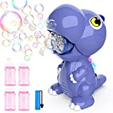 Growsly Bubble Machine - Rechargeable Automatic Dinosaur Bubble Blower with Led Lights and 4 Bubble Solutions,2000+ Bubbles Per Minute Bubble Maker for Outdoor Parties Birthday Wedding (Purple)