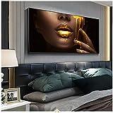 Arte Abstracto Moderno de la Pared Cara Negra de Las Mujeres con Pinturas de Lienzo líquido Dorado en la Pared Carteles e Impresiones de imágenes 23.6'x47.2 (60x120cm) Sin Marco