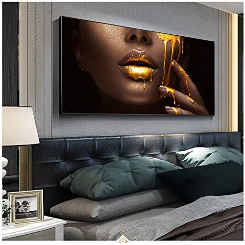 Arte Abstracto Moderno de la Pared Cara Negra de Las Mujeres con Pinturas de Lienzo líquido Dorado en la Pared Carteles e Impresiones de Cuadros 27.5