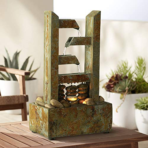 "Zigzag Natural Slate Lighted 17 1/4"" High Table Fountain"