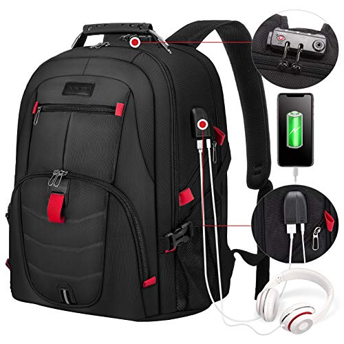 Travel Laptop Backpack Waterproof Anti Theft Backpack with Lock and USB Charging Port Large 17-17.3 Inch Computer Business Backpack for Men Women Bookbag Teacher Work School College Backpack Black
