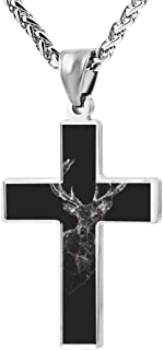 Deer Cross Necklace Pendant Creative Personalized Accessories Prayer Christian 24 Inch