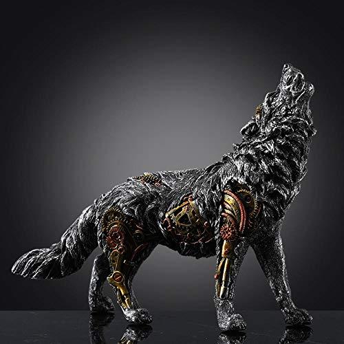 ZHSDTHFJY Exquisita Decoración,Esculturas De Pared Estatuas Estatua De Lobo Mecánico Escultura Animal Decoración del Hogar...