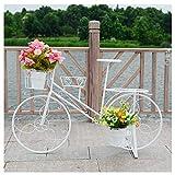 LBBGM Soporte de Planta de Bicicleta Soporte de Carro de Maceta, Ideal para Patio de jardín casero, Regalo, Triciclo Redondo de Estilo Cesta Soporte de Planta de Metal