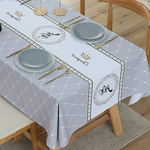 European tablecloth waterproof and oil-free free toiletries anti-hot tablecloth PVC table pad INS wind household tablecloth-Gray crown_140 * 220cm